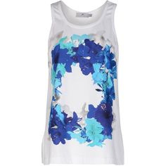 Stella McCartney Blossom Essentials Tank ($42) ❤ liked on Polyvore featuring tops, shirts, tank tops, tanks, blusas, white, floral print shirt, sleeveless shirts, floral tank top and jersey shirt