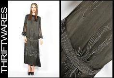 Vtg 1920s Black SILK GLASS BEADED ART DECO FLAPPER Cocktail Party Dress S | eBay