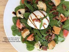 Spinach, Burrata & Crispy Prosciutto Salad – Fabulous Fare Sisters Italian Bread, Tasty, Yummy Food, Balsamic Glaze, Roma Tomatoes, Fresh Bread, Ciabatta, Baby Spinach, Fresh Basil