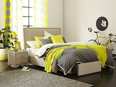 Kenton Framed Bed Frame with Storage: Queen Storage Bed