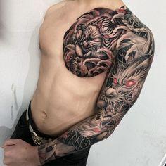 Dragon Tattoo With Flowers, Dragon Tattoo Arm, Dragon Tattoos For Men, Dragon Sleeve Tattoos, Japanese Dragon Tattoos, Japanese Tattoo Art, Japanese Sleeve Tattoos, Arm Tattoo, Tattoos For Guys