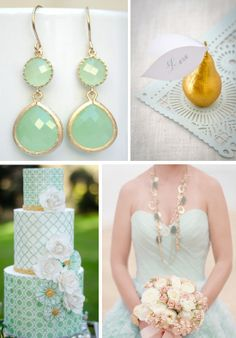 Gold and Mint Inspiration Board