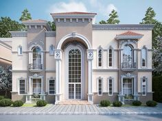 30 Stunning Villa Style Home Exterior Design Ideas - If you're considering buying real estate in Spain, here's some information about Spanish style homes that purchasers in the UK might find useful. Villa Design, Facade Design, Exterior Design, Classic House Exterior, Classic House Design, Modern House Design, House Outside Design, House Front Design, Villa Patio Ideas