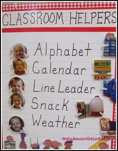 Preschool Classroom Helper Chart with Photos for Jobs I love that they use the child's picture instead of their name at first! Classroom Management Plan, Classroom Jobs, Preschool Classroom, Classroom Organization, Preschool Activities, Preschool Layout, Preschooler Crafts, Classroom Projects, Elementary Education