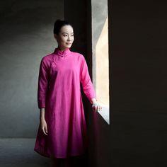 禅语衣坊 2012秋装 新款女装 新中式偏襟女装 修身女士长衫 玫红-淘宝网
