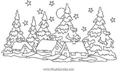 coloring page christmas village Christmas Colors, Christmas Art, Christmas Decorations, Christmas Coloring Pages, Coloring Book Pages, Rug Hooking Patterns, Parchment Craft, Christmas Embroidery, Applique Patterns