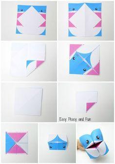 Instrucciones de Origami - Cootie Catcher tiburón