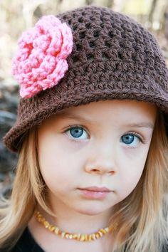 Crochet Hat with Flower, Chocolate Brown, Pink Rose, Photo Prop, Newborn, Little Girl, Child Hat, Winter Hat