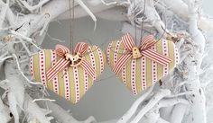 Weihnachtsbaumschmuck zwei Herzen Landhaus