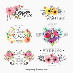 Conjunto de aquarela floweryfor casamento