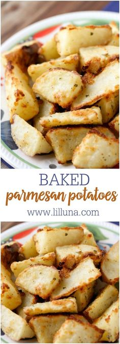 Simple and Delicious Baked Parmesan Potatoes recipe - the PERFECT side dish! Cubed potatoes seasoned with olive oil, parmesan cheese, ranch dry mix, garlic pepper, and salt. Potato Sides, Potato Side Dishes, Healthy Side Dishes, Vegetable Side Dishes, Side Dish Recipes, Dinner Recipes, Veggie Side, Dinner Menu, Vegetable Recipes