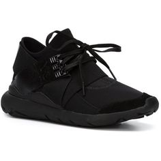 Y-3 'Qasa Elle' sneakers ($415) ❤ liked on Polyvore featuring shoes, sneakers, kohl shoes, black sneakers, black trainers, y3 shoes and y3 sneakers