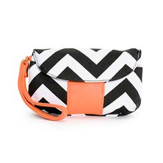 At first glance, the fold over wristlet features a chevron print and a short coral PU wrist strap with additional detailing. There is a zippered pocket at the back, open the flap with the magnetic button closure and you will find a snap button open sleeve pocket and another zippered pocket at the top of the flap.