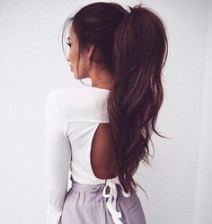 long hair styles | ponytail | brunettes | curly | curls | top | high | beautiful