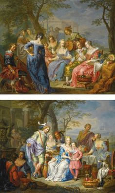 Franz Christoph Janneck  AN ELEGANT COMPANY IN A LANDSCAPE SERENADED BY MUSICIANS, A CLASSICAL BUILDING BEYOND; AN ELEGANT COMPANY IN A LANDSCAPE WITH A COUPLE PLAYING BACKGAMMON, BESIDE A SCULPTED URN AND A CLASSICAL FAÇADE