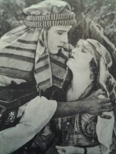 Rudolph Valentino and Agnes Ayres in a production still for The Sheik (1921).