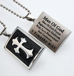 Christian Necklace for Men > Spiritandtruth > Shield Cross Black Graphite - Man Of God > Jewelry Christian Dogtags @ C28
