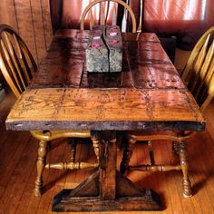 Reclaimed Hand Hewn Harvest Table Dining Table by DeerCreekTableCo
