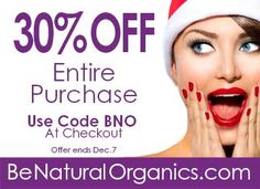 Give the gift of pure organic skin care.   30% OFF of entire purchase!  Now through December 7.   Use code BNO at checkout  Free Shipping*  #BeNaturalOrganics #AntiAgingTreatment #OrganicSkinCare #AcneTreatment #Moisturizers #StemCellConcentrates #Sale