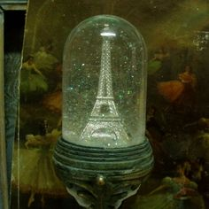 Vintage Eiffel Tower snowglobe dome verdigris aged pedestal for French Country, Shabby Chic decor. French souvenir landmark taken to a higher level uplifted embellisment made by me. $#vintage Eiffel Tower snowglobe#Vintage Eiffel tower dome#french country decor#shabby chic snowglobe#shabby chic Paris#distressed eiffel tower#verdigris eiffel tower