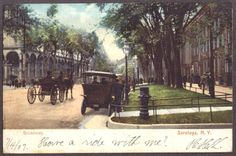 Have a ride with me? Saratoga Springs New York, Old Photography, Old Postcards, Grand Hotel, Victorian Era, Great Photos, The Past, Hotels, Places