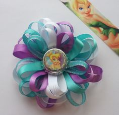 TINKERBELL HAIR BOW Hair Bow Tinkerbell Hairclip for by pixieclip, $5.00