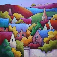 A Clear Day by Gillian Mowbray Silk Painting, Painting & Drawing, Watercolor Paintings, Art Sculpture, Guache, Arte Popular, Easy Watercolor, Naive Art, Whimsical Art