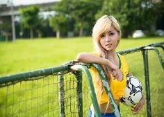 Dziewczyna, Blondynka, Sport, Piłka, Nożna, Bramka