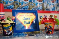 My oldest son wanted a superhero birthday party. This party was full of fun ideas. By the end, the kids were official superheroes! Craft Party, Diy Party, Party Ideas, Hero Crafts, Happy Birthday Signs, Superhero Birthday Party, Holiday Parties, First Birthdays, Display