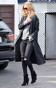 We love Rosie Huntington-Whiteley's off-duty style in black ripped jeans, black coat and grey sweater