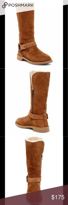 """🆕 ⚡️FLASH SALE⚡️ UGG Australia Braiden Boot A vented, cuffable shaft and a removable whipstitched strap give this distinctive cold-weather boot easy street cred while genuine shearling and UGGPure(TM) lining provide warmth, all-day comfort. Round toe, genuine sheepskin construction, removable buckle strap accent, side zip closure, UGGPure lining(TM), Treadlite by UGG sole for lightweight durable traction, about 12.5"""" shaft height,about 15"""" opening circumference, about 1.5"""" heel. Genuine…"""