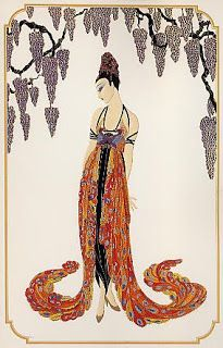 Feather Gown -Erte - by style - Art Deco I love this guy! Art Deco Illustration, Art Illustrations, Art Vintage, Moda Vintage, Art Deco Stil, Art Deco Era, Art Deco Print, Art Deco Design, Arte Fashion
