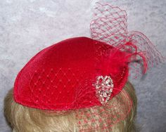 Red Cocktail Hat by GlitzOfFlorida on Etsy, $40.00