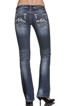 Miss Me Womens Cross with Wings Open Pocket Boot Cut Jean - Extended Sizes Miss Me Skinny Jeans, Miss Me Jeans, Cavenders Boots, Boot City, Cowgirl Outfits, Studded Boots, Jeans For Sale, Jeans Pants, Cut Jeans