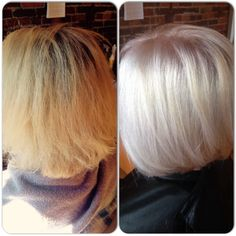 Before/After: High Lift Artego Blonde, NO BLEACH + Olaplex. Stunning Ice Blonde by Yours Truly. www.AlisonWolf.com