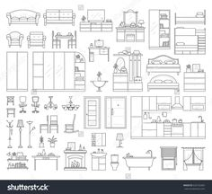 Vector icons set of house interior furniture. Collection in thin linear style. elements of kitchen bathroom bedroom wardrobe and living room: table office desk and chair lamp sofa and bed. Autocad, Floor Plan Drawing, House Drawing, Architecture Symbols, Architecture Design, Drawing Room Design, Interior Design Sketches, Furniture Collection, Icon Set