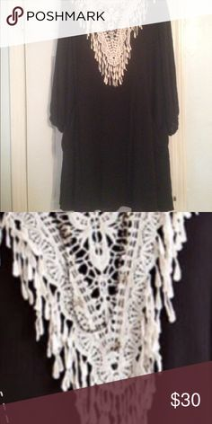Black dress w lace embellishment Had tag but my grandson tore it off.  I'm top heavy and it was not flattering on me entro Dresses Midi