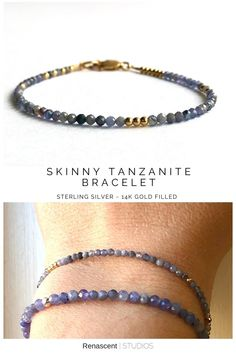 Two new gemstone bracelets just released 😁 Same stone but offered in 2 sizes, skinny version, tiny 2mm size and larger 3mm size gemstones. Both are made with lovely natural Tanzanite crystals. Tanzanite will help you get to know yourself on a deeper level. It has powerful spiritual energies and can help establish a connection between your mind and the higher realms #renascentstudios #tanzanite #tanzanitebracelet #tanzanitejewelry#gemstonebracelet#decemberbirthstone… Tanzanite Bracelet, Tanzanite Jewelry, Gemstone Bracelets, Sterling Silver Bracelets, Gemstone Jewelry, Layered Jewelry, Trendy Jewelry, Women Jewelry, Latest Jewellery