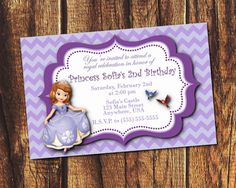 Sofia the First Birthday Invitation Digital file by suzz377, $5.99