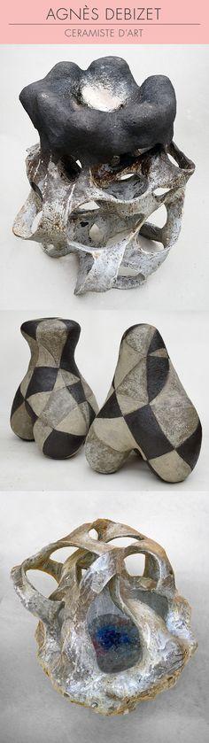 Agnès Debizet, sculptrice et céramiste. Venez découvrir ses oeuvres en mai 2017 au Grand Palais ! 1/ Sculpture en grès 2/ Tripodes graphiques en grès engobé 3/ Coupe Entrelac, grès engobé, porcelaine, émail et verre © Agnès Debizet #céramique #ceramic #ceramics #keramik #ceramica #contemporaryceramics #ceramicart #handmade #faitmain #handcrafted #création #creation #creations #maker #craftmanship #contemporary #contemporain #SalonRevelations #metiersdart #inspiration #sculpture #sculptures