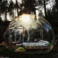 From £100 a night, outdoor lovers can enjoy a stay in a two-person bubble room, made from transparent plastic