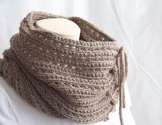 Knitting Pattern Cowl Knit Pattern Scarf Brown, Moka