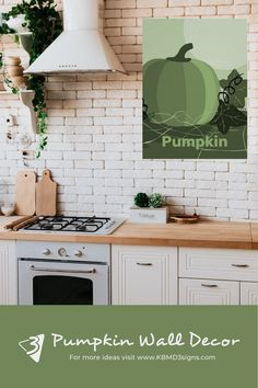#pumpkin print in #green for a #countrystyle #kitchenwall . Should you like the theme but not color does not match for your purpose, then #colorityourway Click through and learn how. #kbmd3signs create #customizable #walldecor that gives the possibility to #customize the #walldecor.