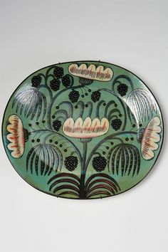 Wall placque (1960s) by Finnish ceramic artist and designer Birger Kaipiainen (1915-1988) for Arabia, Finland. Stoneware, unique. via Modernity
