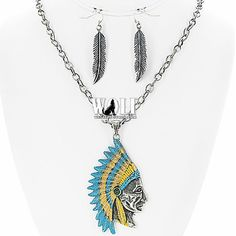 NEW WESTERN COWGIRL Indian Chief Head BLING Women's NECKLACE & EARRING SET d