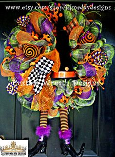 Whimsical Halloween Polka Dot Witch Hat with Boots Wreath