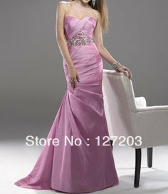 Noble Pink Stain Mermaid Sweetheart Beaded Evening Dress Custome Dress Shop $165.00