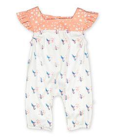 Loving this Orange & Cream Ruffle-Sleeve Hummingbird Romper - Infant on #zulily! #zulilyfinds