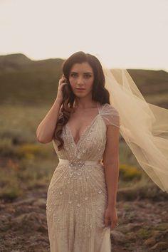 Champagne wedding dress. I like the cut