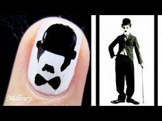 Movember Nail Art - Charlie Chaplin Moustache Nail Design for Short Nails black and White